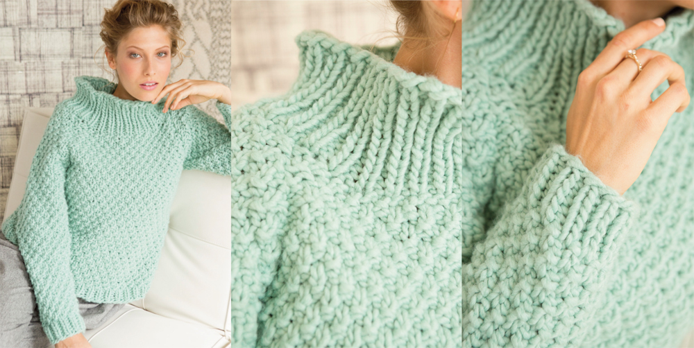 ... just right for weekend lounging-that knit up quickly in bulky yarns