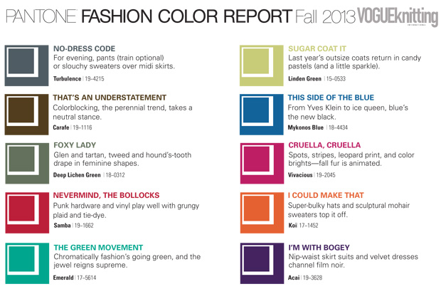Vogue Knitting Fall 2013 Pantone Fashion Color Report