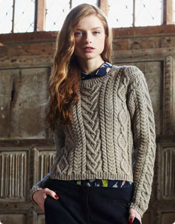 Vogue Knitting Patterns For Sweaters : Debbie Bliss Cable Panelled Sweater