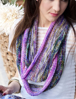 Vogue Knitting Cowl Pattern : Koigu Purple and Pink Extra Long Cowl