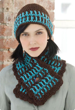 Free Crochet Patterns Hats Scarves : STITCH NATION BY DEBBIE STOLLER LAKE HOUSE HAT AND SCARF